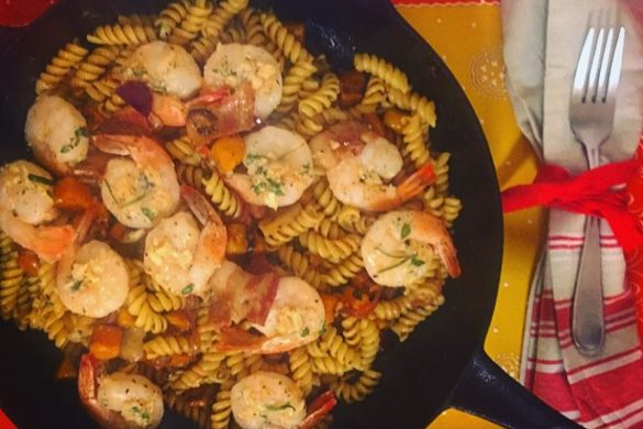 Butternut Squash, Shrimp and Bacon Pasta