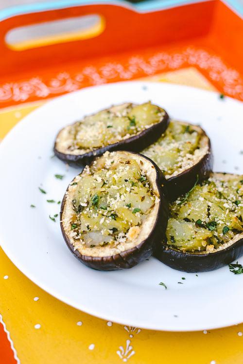 Baked Potato Stuffed Eggplant with Tomato Chutney