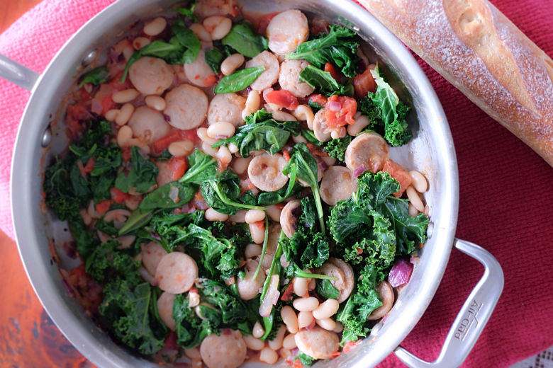 Sweet Apple Sausage, Cannelloni Beans, Spinach and Kale
