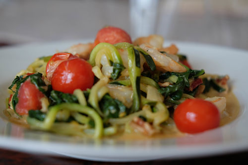 Zoodles, shrimp, bacon and spinach