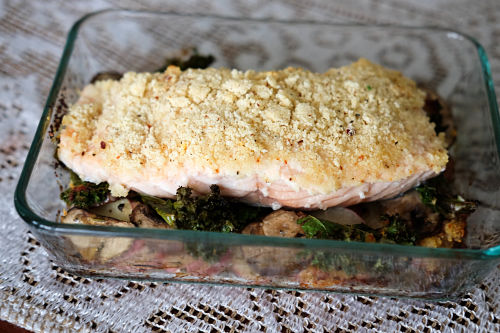 Baked Salmon Stacker with mushrooms, potatoes and kale