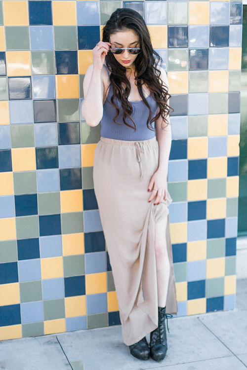 blue body suit sheer skirt