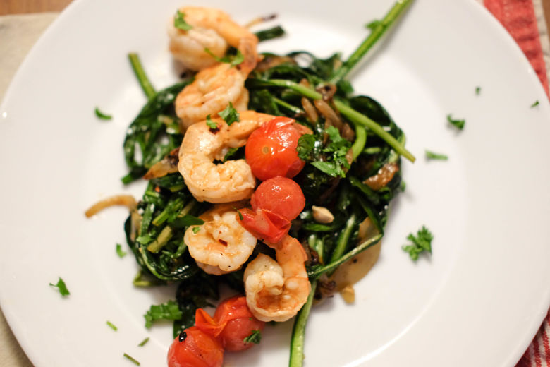 SHRIMP & DANDELION GREENS