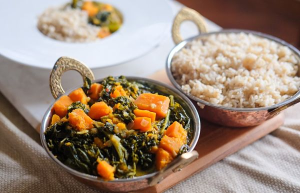Coconut Braised Kale and Butternut Squash Curry