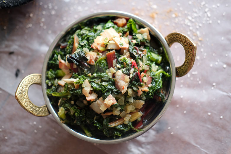 Braised Kale and Bacon
