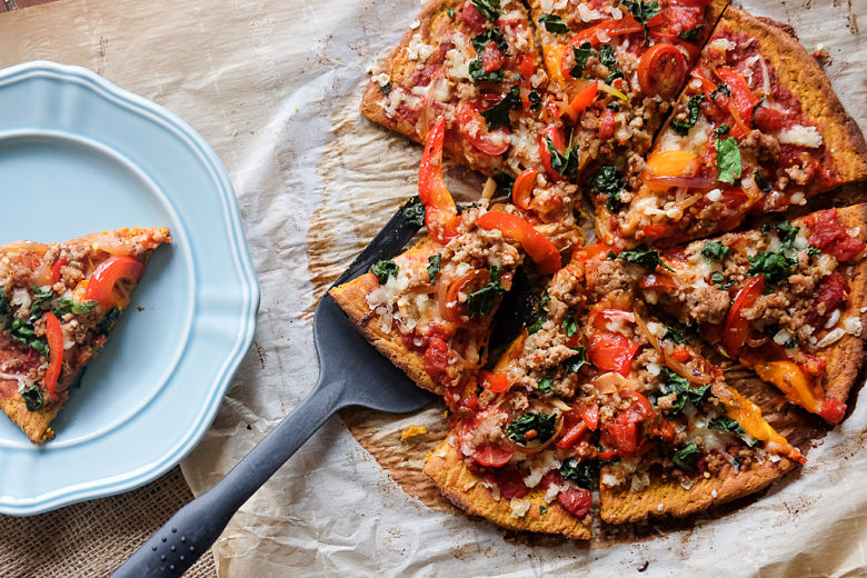 Whole 30 Tandoori Spiced Sausage and Sweet Potato Crust Pizza