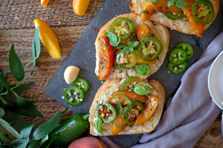 Goat Cheese Toast with Caramelized Peaches and Spicy Jalapenos