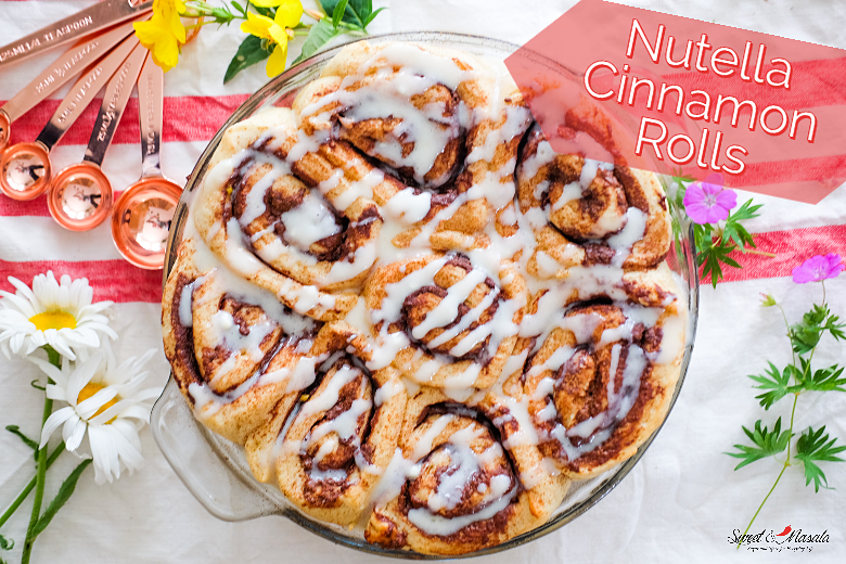 Nutella Cinnamon Rolls with Cream Cheese Frosting